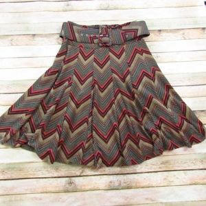 Lapis Chevron Belted Circle Skirt S